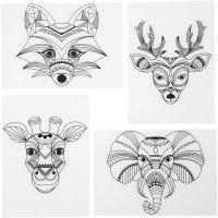 Krympeplast med motiver, vilde dyr , 10,5x14,5 cm, tykkelse 0,3 mm, mat transparent, 4 ark/ 1 pk.