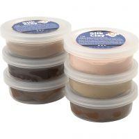 Silk Clay®, skin colours, 6x14 g/ 1 pk.