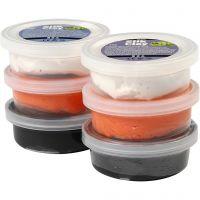 Silk Clay®, sort, orange, hvid, 6x14 g/ 1 pk.