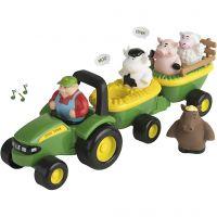 John Deere traktor med vogne, grøn, 1 sæt