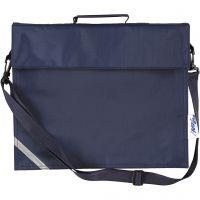 Skoletaske, dybde 6 cm, str. 36x31 cm, mørk blå, 1 stk.