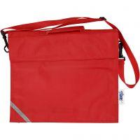 Skoletaske, dybde 6 cm, str. 36x31 cm, rød, 1 stk.