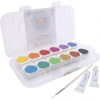 PRIMO akvarelfarver, ass. farver, diam. 30 mm, 12 stk./ 1 æske, 12 stk./ 1 pk.
