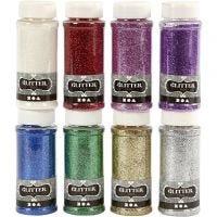 Glitter, 8x110 g, forskellige farver, 8x110 g/ 1 pk.