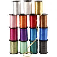 Gavebånd, blank 10x250 m., forskellige farver, 10x250 m/ 1 pk.