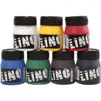 Linoleumsfarve, 6x250 ml., forskellige farver, 6x250 ml/ 1 pk.