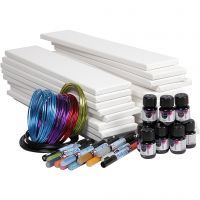 Lange lærreder med akvarel, hvid, 1 sæt, 20 stk.