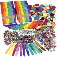 Glitter, glimmer og træpinde, ass. farver, 1 sæt
