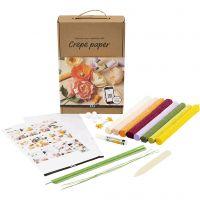 Læringssæt - Crepepapirblomster, 105 g, ass. farver, 1 sæt