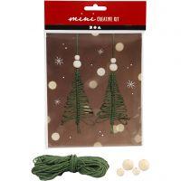 Kreativt minikit, macramé juletræ, H: 11 cm, 2 stk./ 1 sæt