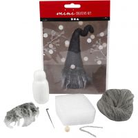 Kreativt minikit, Næsenisse, H: 13 cm, grå melange, 1 sæt