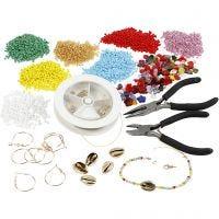 Krea-pakke – Smykkefremstilling med rocaiperler, forgyldt, 1 sæt