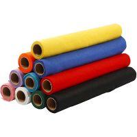 Hobbyfilt, B: 45 cm, tykkelse 1,5 mm, 180-200 g, ass. farver, 10x1 m/ 1 pk.