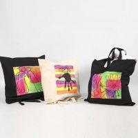 Muleposer, dekoreret med Textil Color, neon
