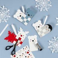 Flettet julehjerte med rensdyr, pingvin og isbjørn