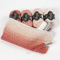 Hæklet kosmetikpung med ombre effekt