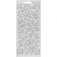 Stickers, snefnug, 10x23 cm, sølv, 1 ark