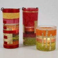Lysglas med slagmetal i guld og decoupage