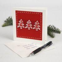 Nemt julekort med juletræer
