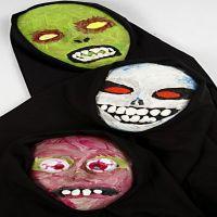 Halloween masker af papmaché dekoreret med akrylmaling og puff medium