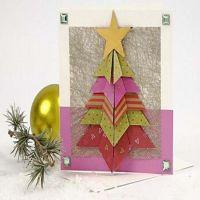 Julekort med foldet juletræ