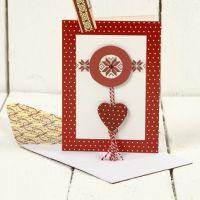 Julekort med træstickers og designpapir fra Vivi Gade