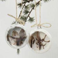 Flade julekugler med decoupage og sneeffekt
