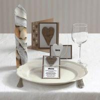Invitation, bordkort og menukort med hjerte i bark og halvperler