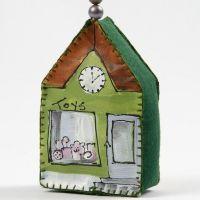 Malet hus i lærred, dekoreret med perler