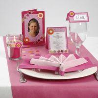 Bordpynt, bordkort og indbydelse med fotoramme i pink nuancer