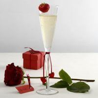 Bordkort, æske og glaspynt i rødt