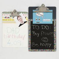 Memoholder af clipboard med tavlemaling og Masking Tape