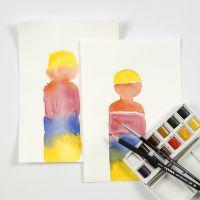 Sådan maler du vådt-på-tørt og vådt-i-vådt med akvarel blokfarver