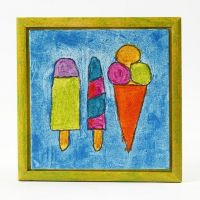 Tuschtegnet motiv med glittermaling på malerplade i ramme