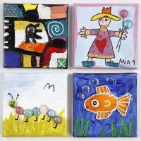 Malerier på malerlærred dekoreret med dekorationssten