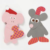Papirklip til jul efter fleksibel skabelon: julemus og julegris