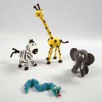 Vilde dyr på skeletter med Silk Clay
