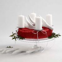 Adventskrans i rødt og hvidt