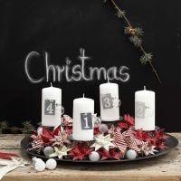 Adventskrans af flettede julestjerner i designpapir