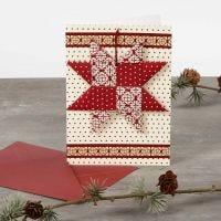 Julekort med flettet julestjerne og masking tape