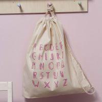 Snørepose i bomuld dekoreret med aftryk