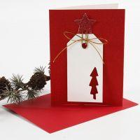 Glitrende kort med manillamærke i dekorativ papirclips med stjerne
