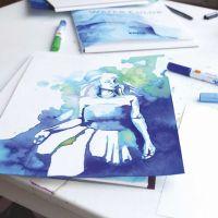 Illustration lavet med akvarelfarver på tusch