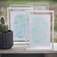Billede med optegning af tegnegummi pen og Aqua Paint i dobbeltramme