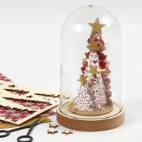 Pyntet Jule klokke med saml-selv træfigurer