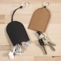 Pung til nøgler og headset af læderpapir