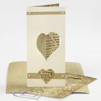 3-fløjet invitation til bryllup med hjerte skåret i skæremaskine, glitterpapir og halv-perler