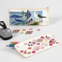 Penalhus dekoreret med collage af papir