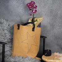 Mulepose af læderpapir med broderet kant og stjerne