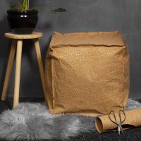 Puf syet af læderpapir med krøyerkugle fyld